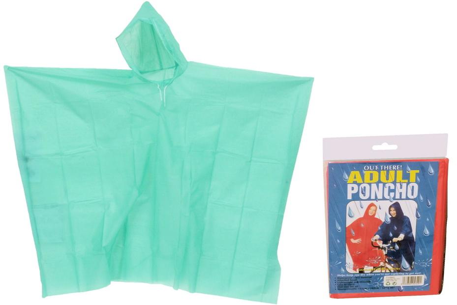 Adult Poncho (4 Asst Colours) In Pvc Bag/Colour Insert