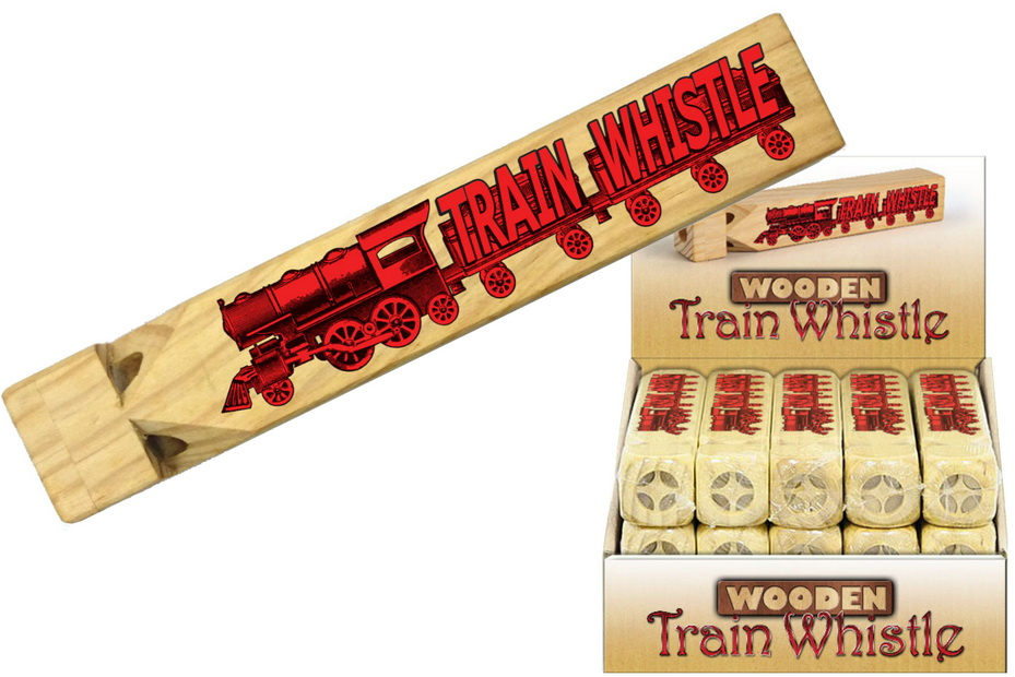Wooden Train Sound Whistle In Display Box