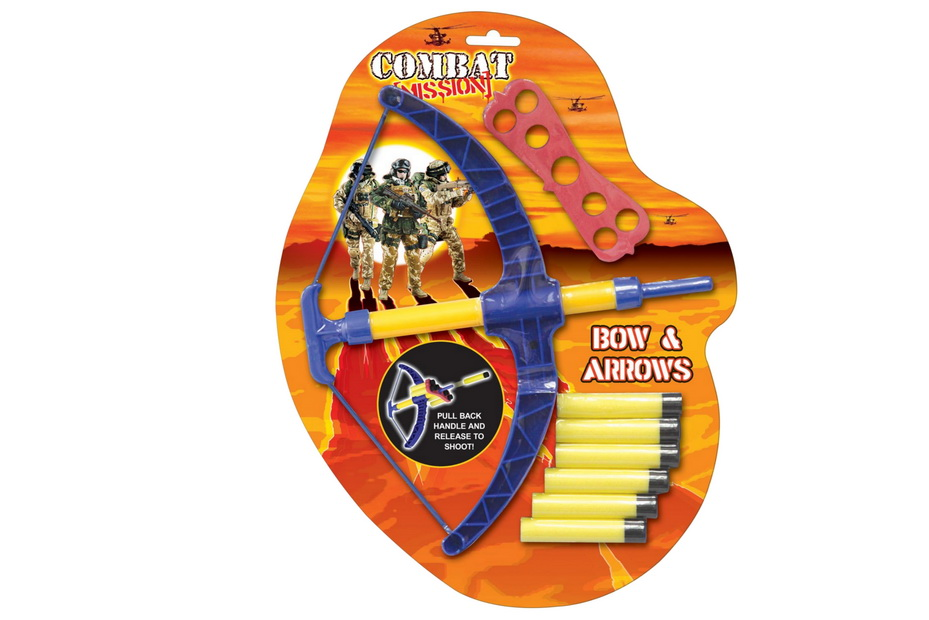 "Bow & Arrow Foam Dart Playset ""Combat Mission"" On B/C"