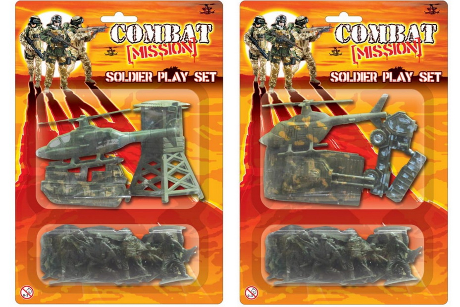 "Army Soldier Playset In Twin Blistercard 2 Asst ""Combat"