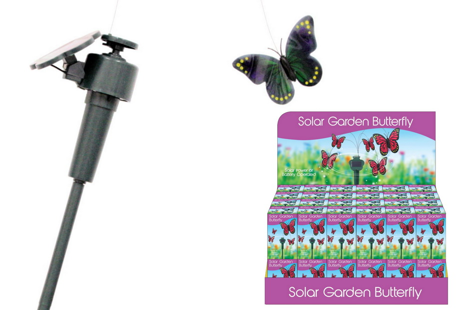 Solar Butterfly In Colour Box/Display Box - 6 Assorted