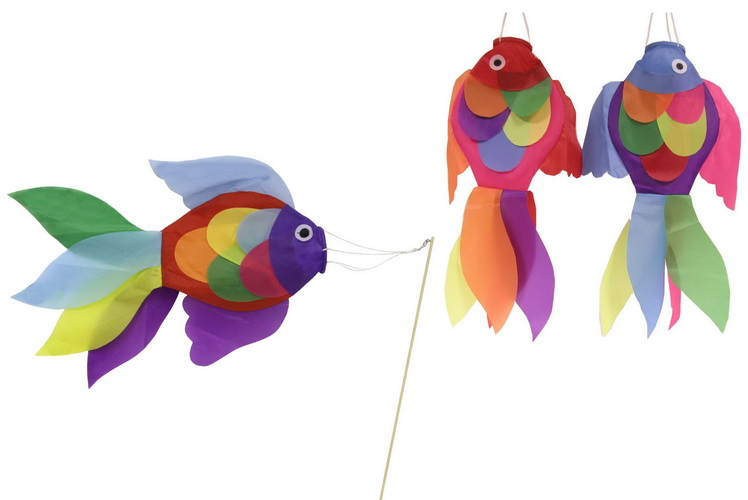 """18"""" Fish Windsock With Stick (6 Asst Colours)"""