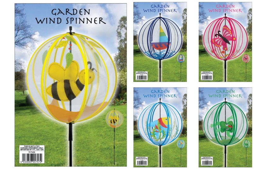 Pvc Round Ball Windmills (5 Assorted) In Polybag