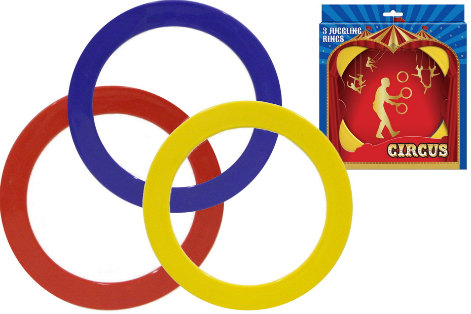 "3pc Juggling Rings In Open Touch Box ""Circus"""