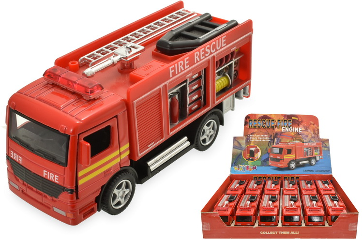 Die Cast Pull Back Fire Engine In Display Box