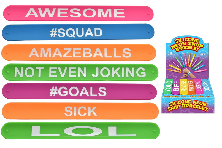 Silicone Neon Snap Bracelets New Slogans 12 Assorted