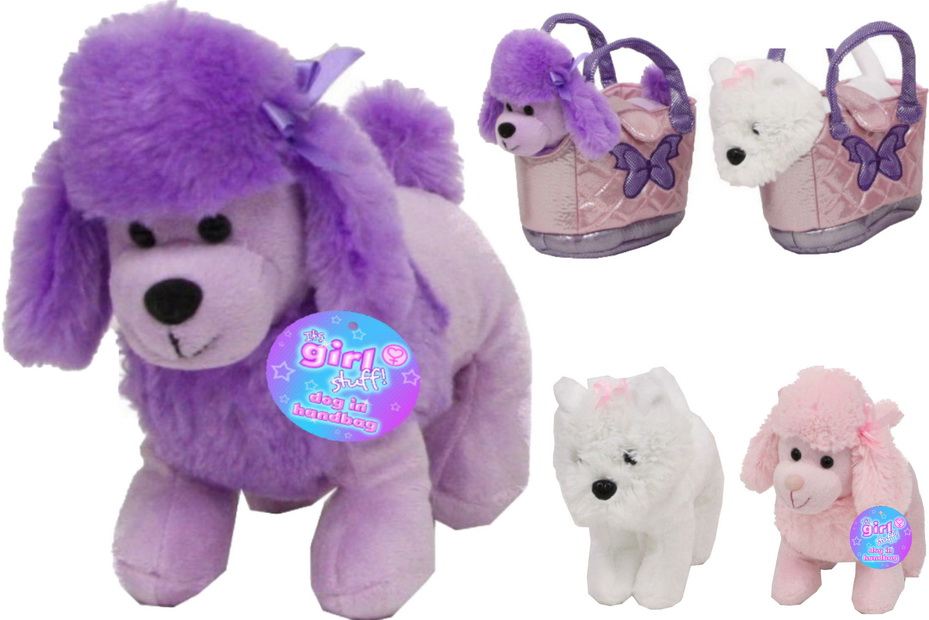 Plush Dogs In Sparkly Handbag 17cm - 3 Assorted