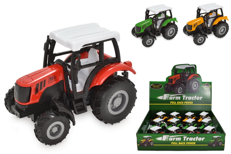 """Die Cast Pull Back Tractor In Display Box """"Farm Series"""""""