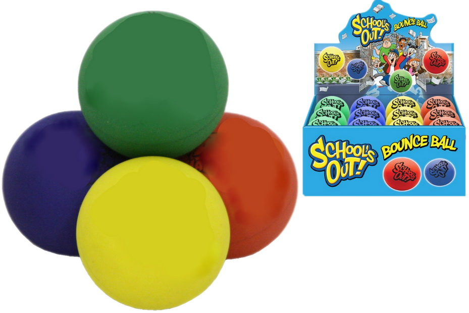 6cm Tpr Bounce Ball In Display Box - 4 Assorted Colours