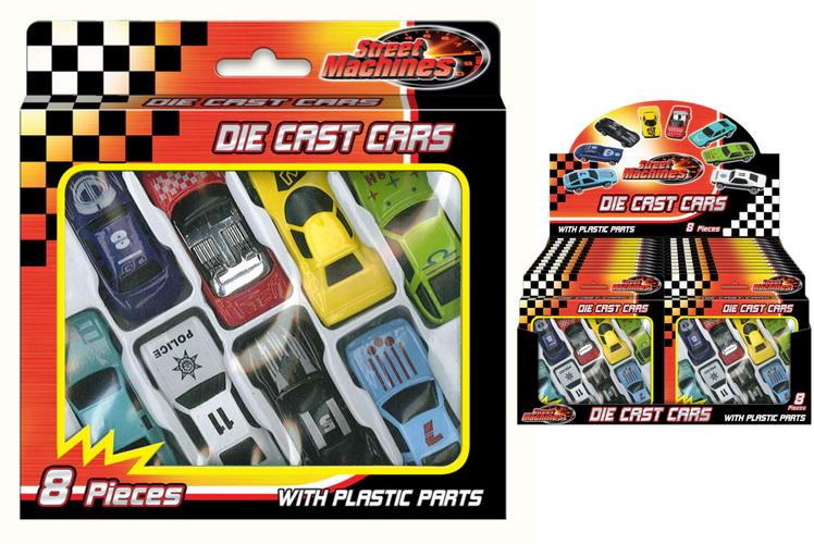 8pc Die Cast Free Wheel Cars In Window Box