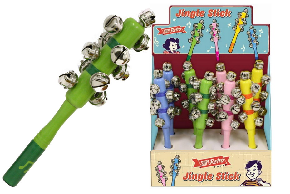 "Wooden Jingle Stick (4 Assorted) In Display Box ""Retro"""