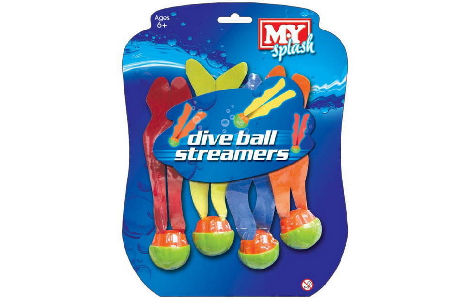 "4pc Dive Ball Streamers On Blistercard ""M.Y"""