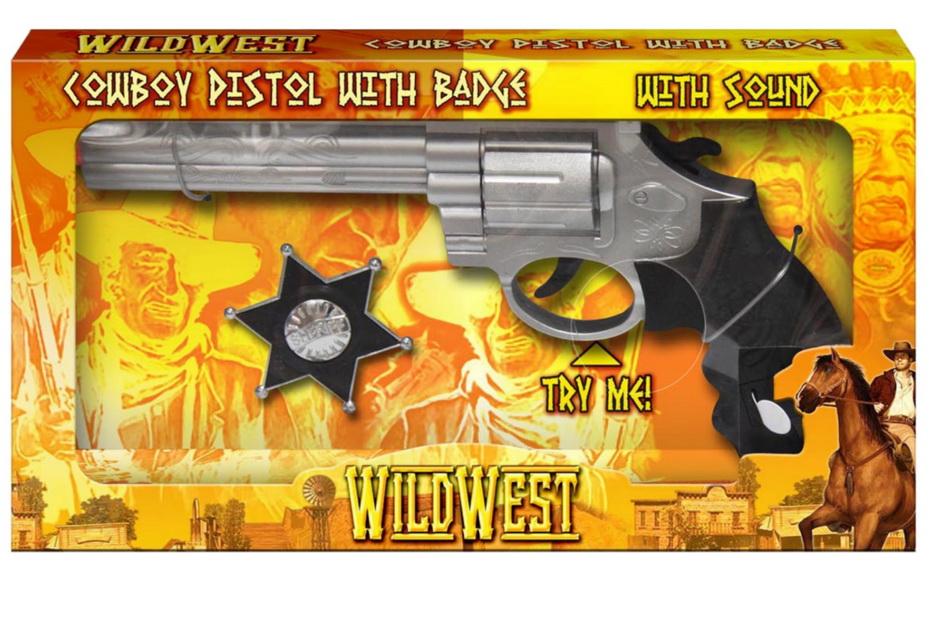 """Cowboy Pistol With Sound & Badge (2 Asst) """"Wild West"""""""