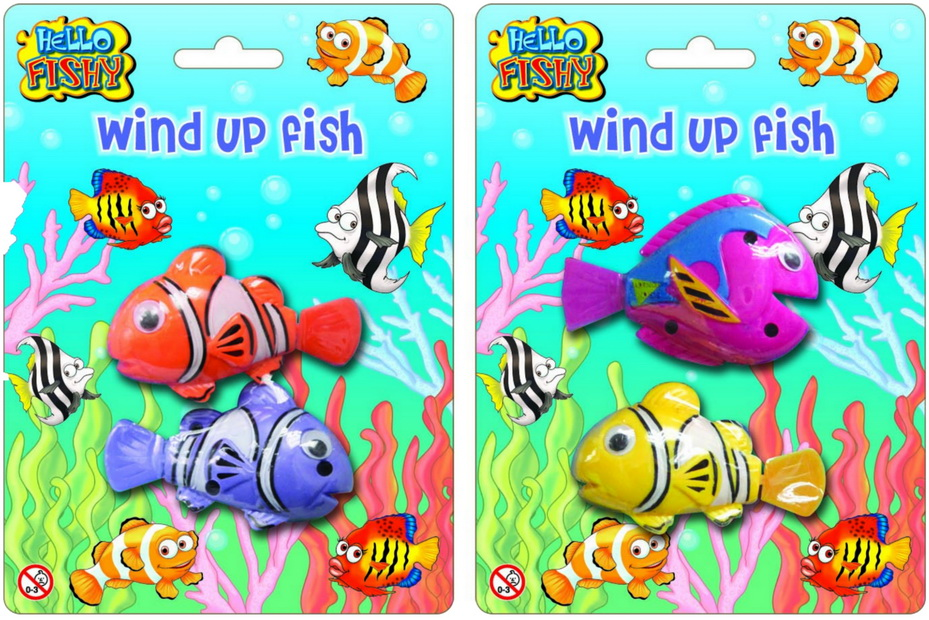 2pc Wind Up Clockwork Fish (2 Asst) On Blistercard