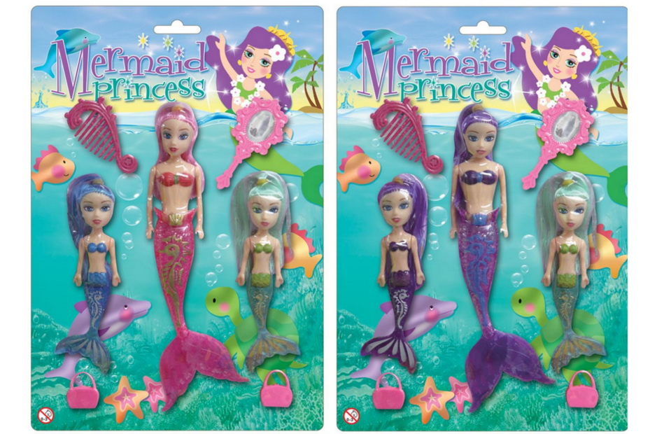 3pc Mermaid Set (4 Asst) On Blistercard