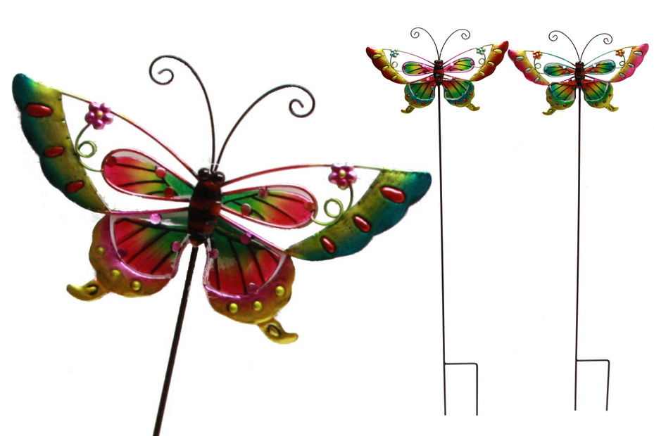 Butterfly On Stick (Glass & Metal) - 4 Assorted