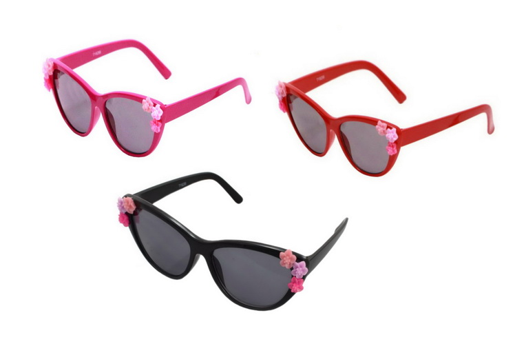 Kids Plastic Frame Sunglasses With Flowers - 3 Assorted