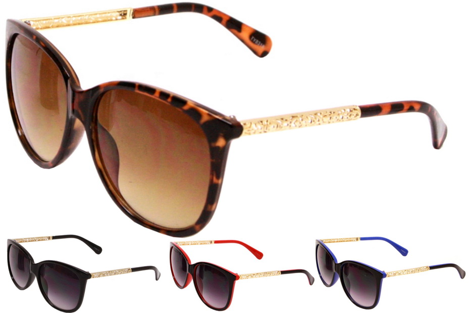 Adult 2 Tone Plastic Frame Sunglasses - 4 Assorted