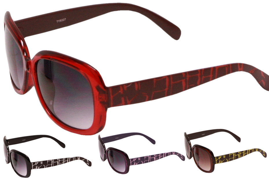 Adult Plastic Frame Sunglasses With Printed Arms-4 Asst