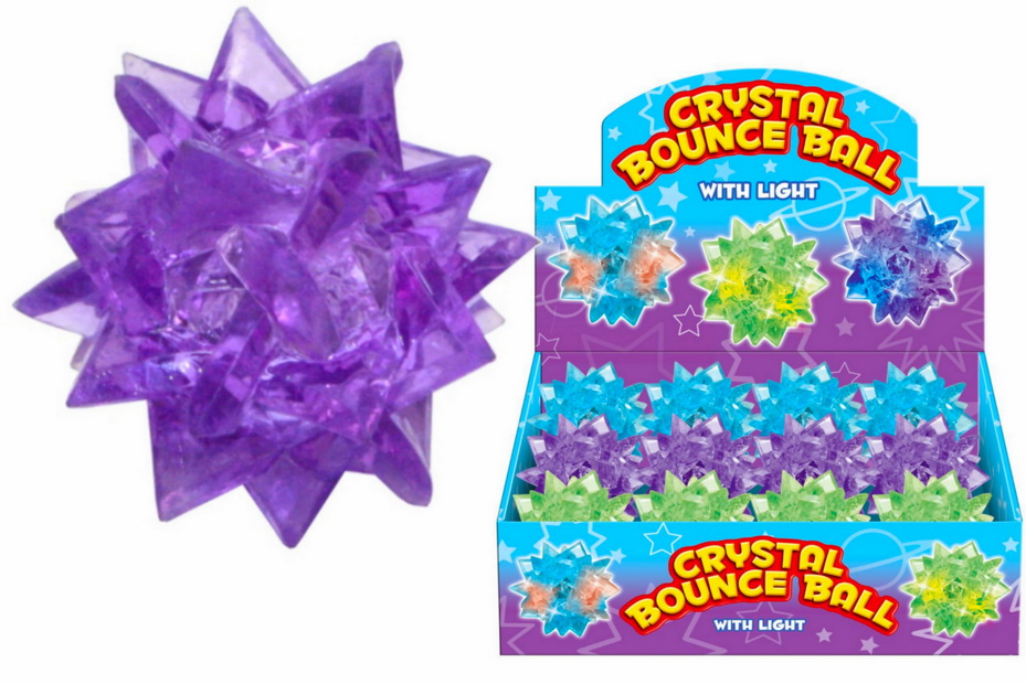 Light Up Crystal Bounce Ball (3 Asst) In Display Box