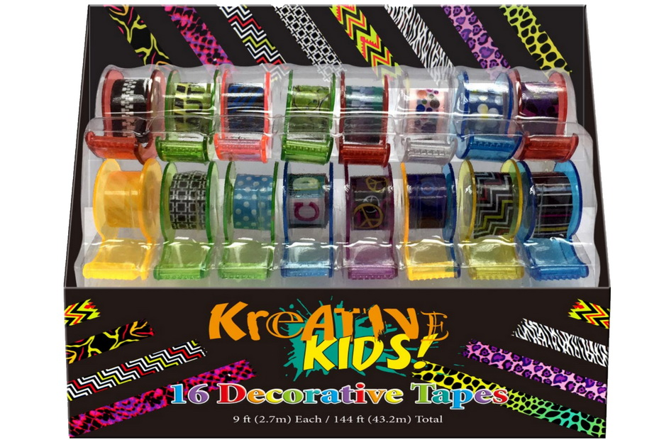"16pc Decorative Tapes In Open Touch Box ""Kreative Kids"""