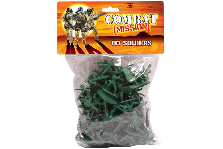 "80pc Soldiers In Pvc Bag W/Header ""Combat Mission"""