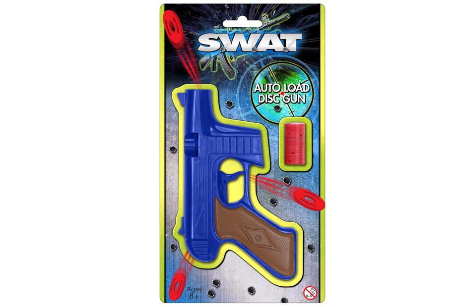 "Auto Loading Disc Gun On Blistercard ""Swat"""