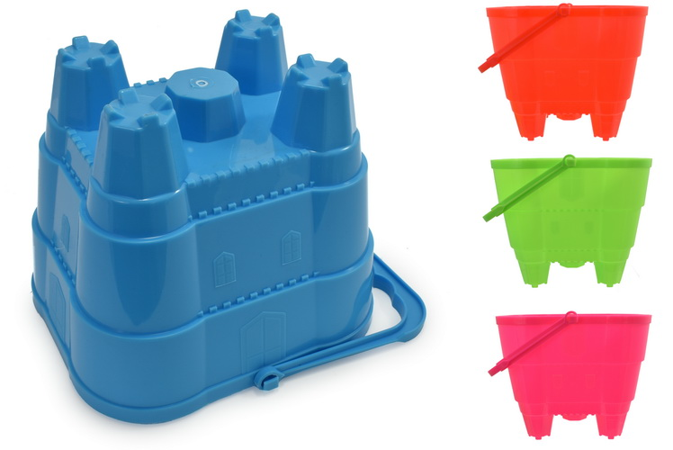 "16cm Large Square Castle Bucket (4 Assorted Neon)""Nalu"""