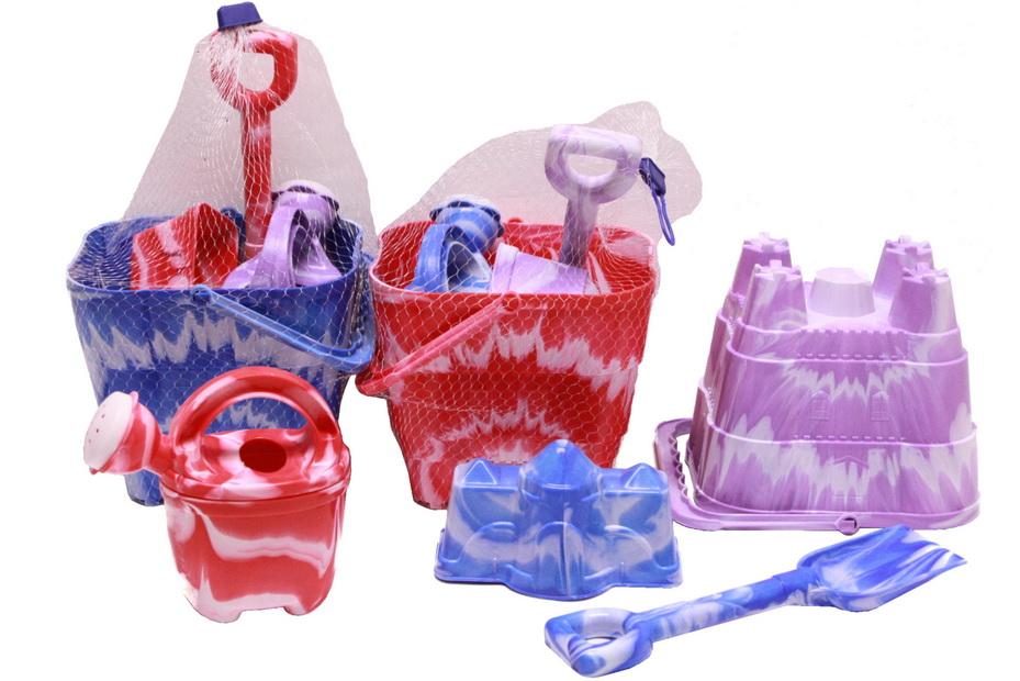 "4pc Marble Square Castle Bucket Set In Net Bag ""Nalu"""