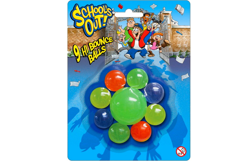 """9pc Transparent Bounce Ball On Blister """"Schools Out"""""""