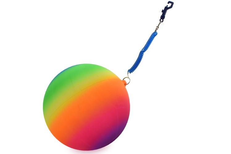 "10"" 100gm Neon Rainbow Ball With Keychain"