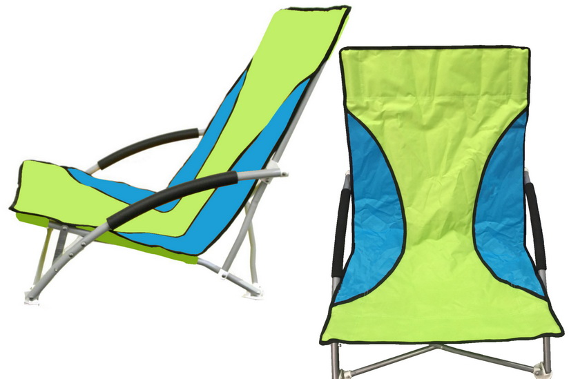 Folding Beach Chair With Foam Arms - Green/Blue