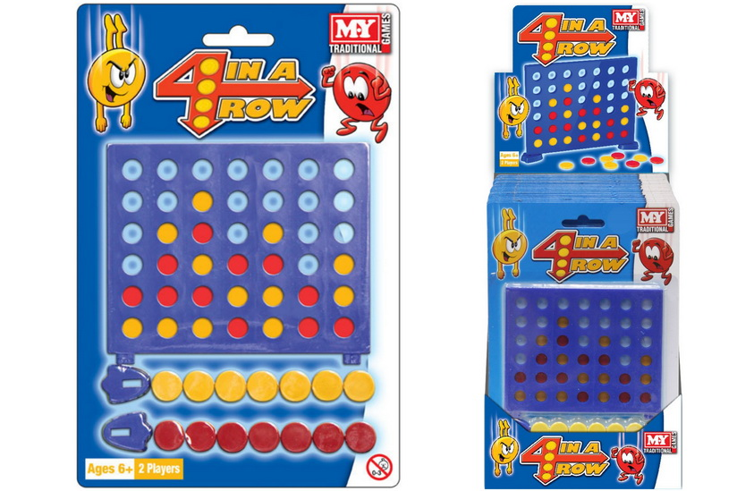 """4 In A Row Game On Blistercard / Display Box """"M.Y"""""""