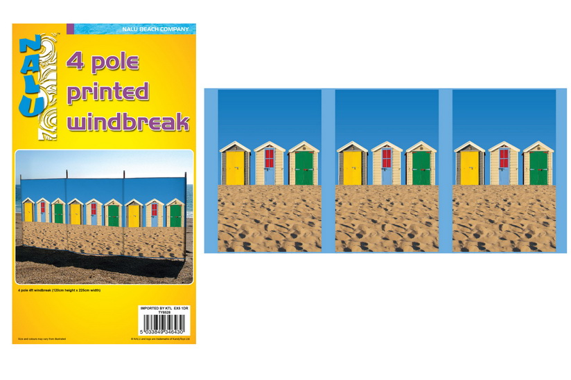 4 Pole 4' Printed Windbreak - Beach Hut Design