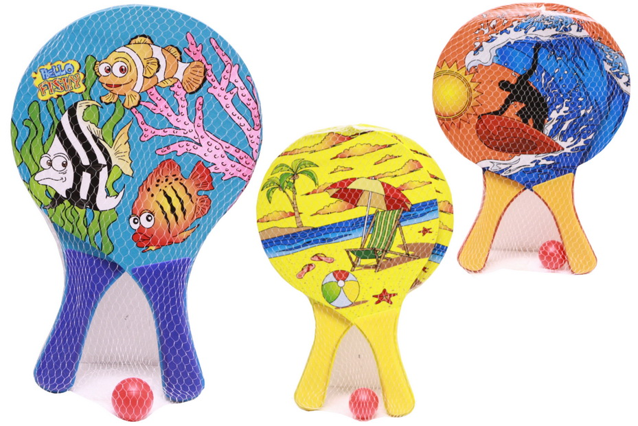 "Neon Wooden Beach Bats & Ball - 3 Assorted - ""Nalu"""