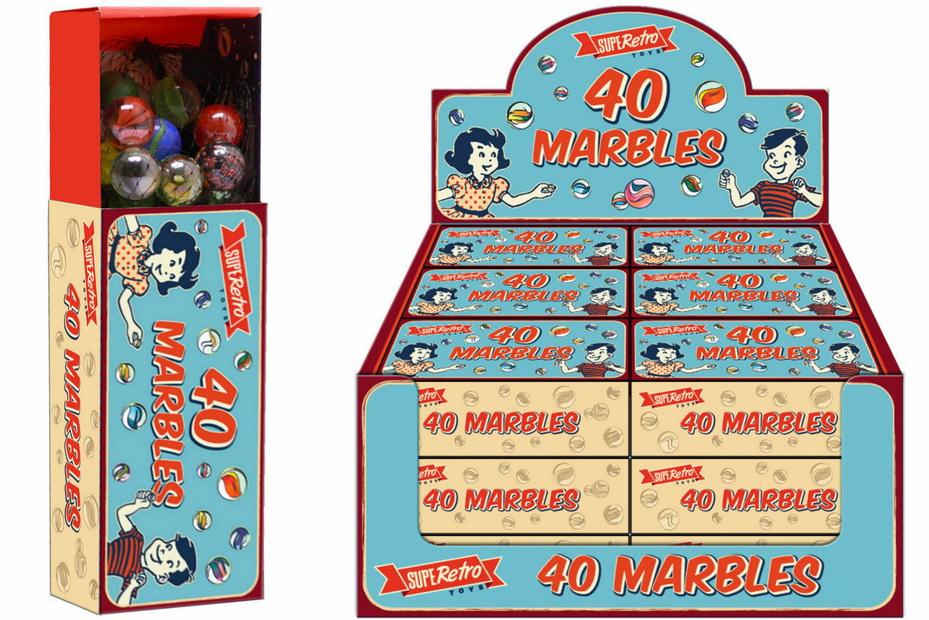 """40 Glass Marbles In Colour Box / Display Box """"Retro"""""""