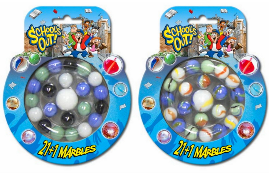 """21+1 Marbles On Blistercard """"Schools Out"""""""