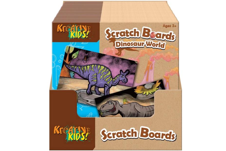 Dinosaur World Scratch Board In Display Box