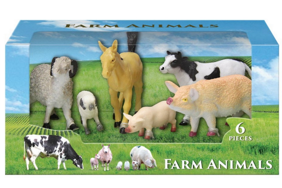 6pc Farm Animal Set In Window Box