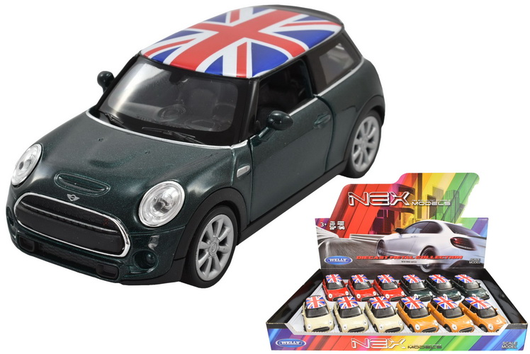 """4.25"""" Die Cast Mini Cooper With Union Jack Roof In Dbx"""