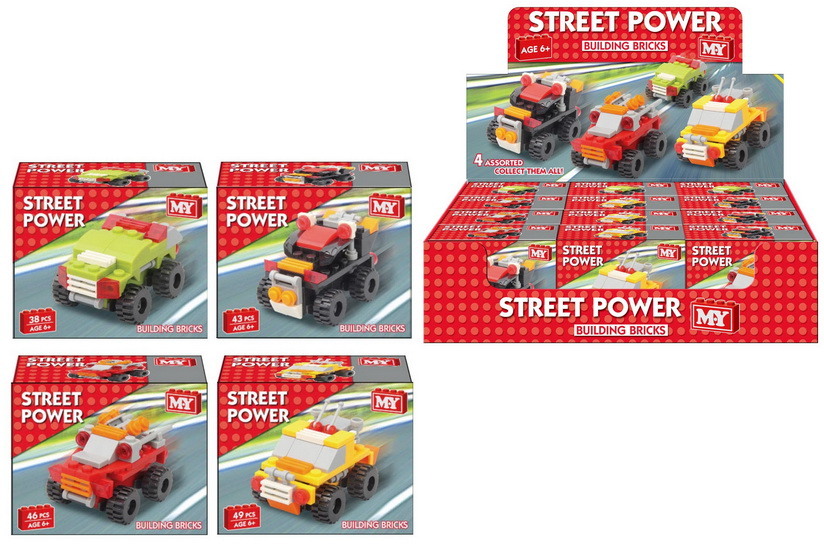 Street Power Vehicles Brick Set 4 Assorted In Dbx