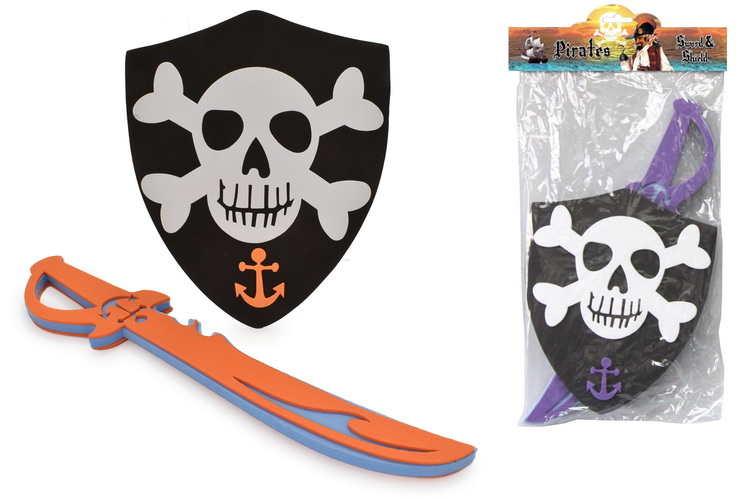 Eva Pirate Sword & Shield Playset In Pvc Bag/Header