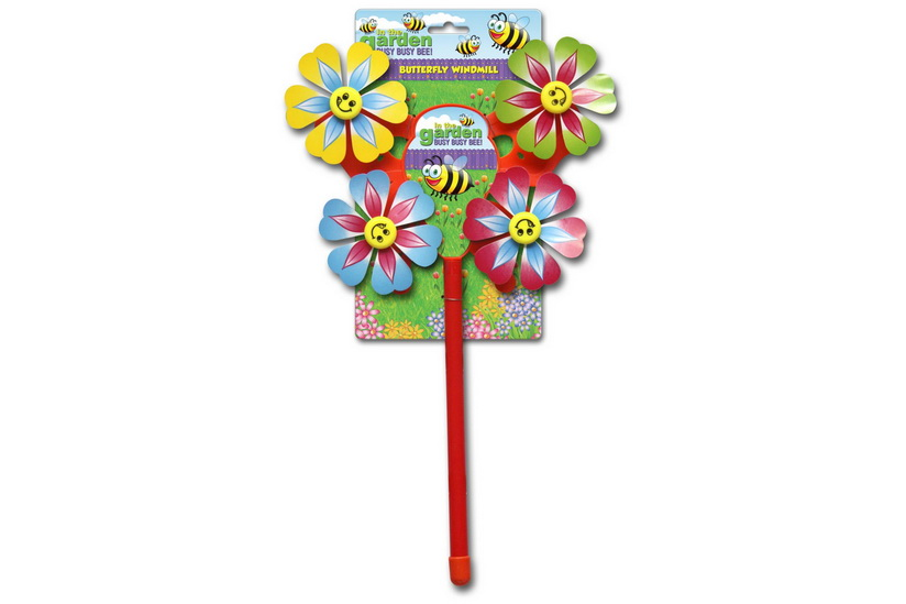 Plastic Windmill With 4 Spinning Sunflower Heads