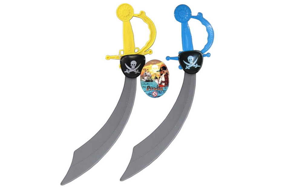 Plastic Pirate Sword With Eye Patch 2 Assorted Colours