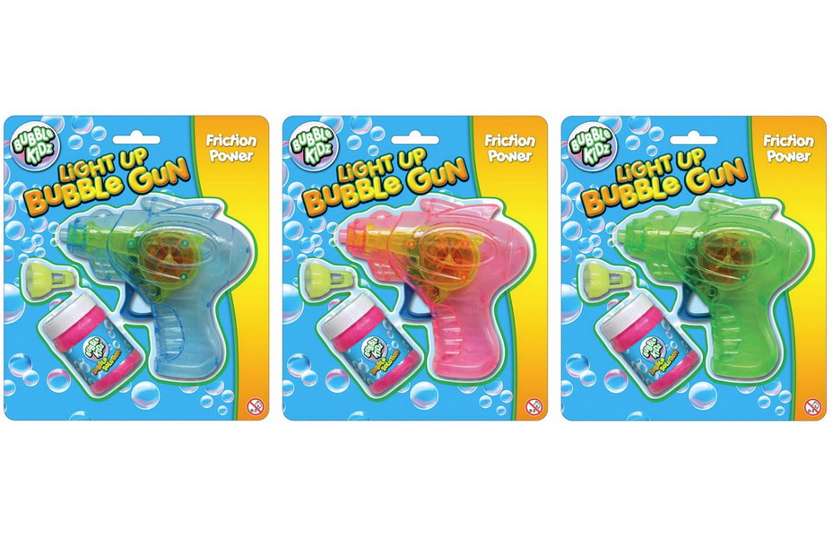 Light Up Friction Bubble Gun 3 Assorted Colours On Bc
