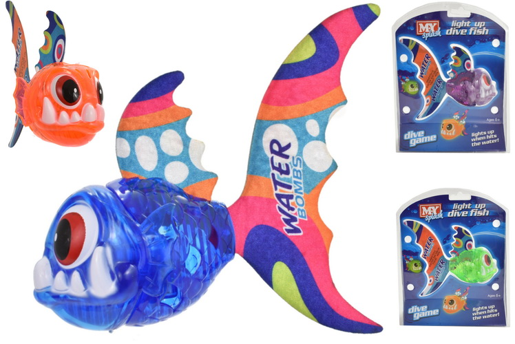 Light Up Dive Fish 4 Assorted Colours In Clam Pack