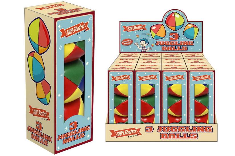"""3 Pack Juggling Balls """"Retro"""" In Display Box"""