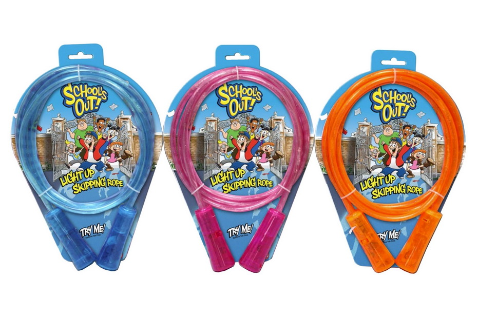 Light Up Skipping Rope 'Try Me' 3 Assorted On Tie Card