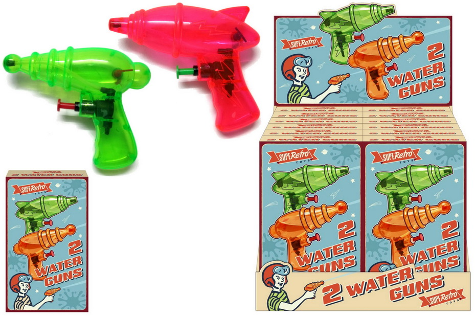 "2pc Watergun In Colour Box ""Retro"" In Display Box"