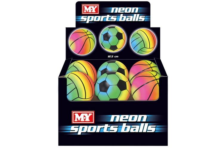 "5"" Rainbow Neon Sports Ball In Display Box (3 Asst) M.Y"